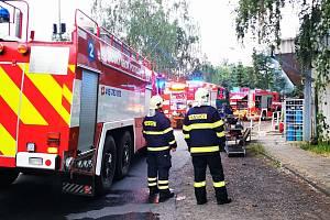 Požár obchůdku v Jimlíně.