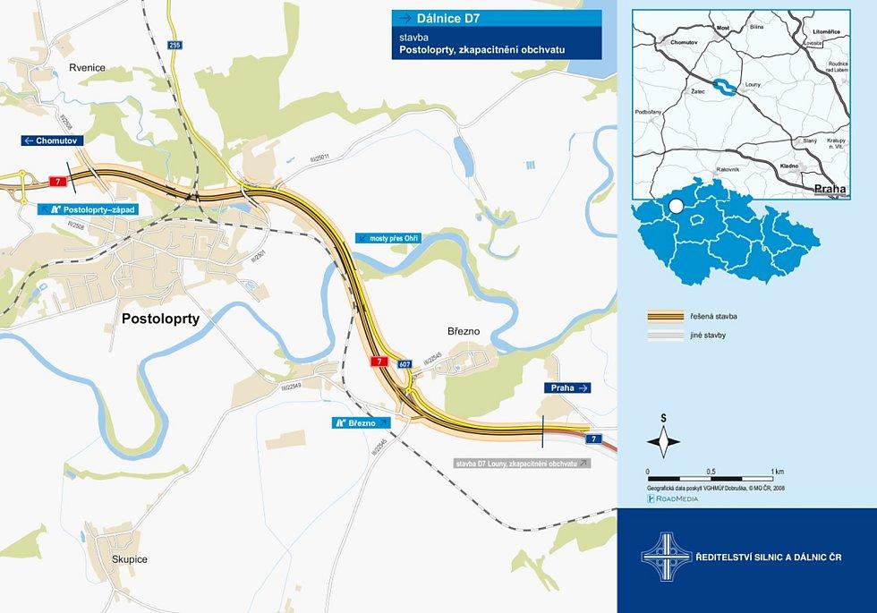 Mapa ukazuje, jak bude vypadat silniční síť u Postoloprt. nynější silnice I/7 Praha - Chomutov se rozroste o další dva pruhy, čímž se změní ve čtyřproudovou dálnici. Od Března povede k Postoloprtům nová silnice druhé třídy.