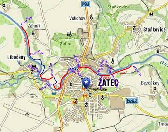 Cyklostezka Ohře na území Žatce je rozdělena na šest úseků, které jsou na mapce vyznačené červeně. Prostřední úseky 3, 4a 5jsou hotové. Úseky cyklostezky mají spojit cyklotrasy (modré), jedná se oméně frekventované cesty.