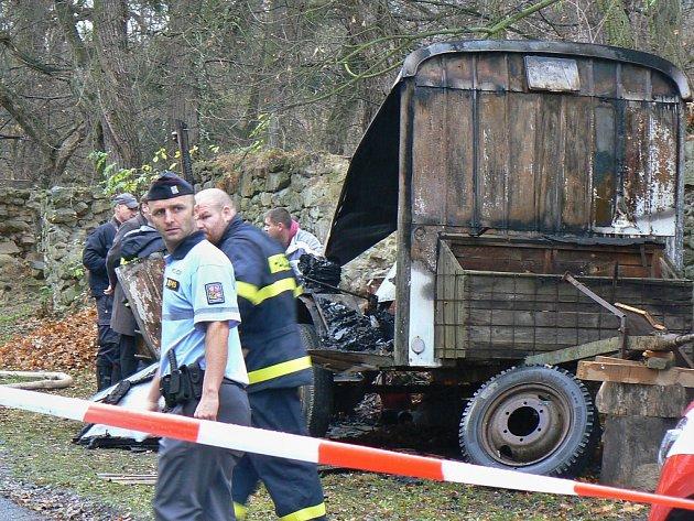 Maringotka po požáru v Petrohradu na Podbořansku. Uvnitř bylo nalezeno ženské tělo