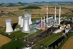 Snímek Elektrárny Počerady s doplněnou vizualizací nového paroplynového zdroje.