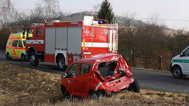 Nehoda na železničním přejezdu v Dobroměřicích
