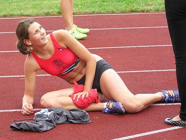 Marta Valtová po doběhu ve finále na 300 metrů.