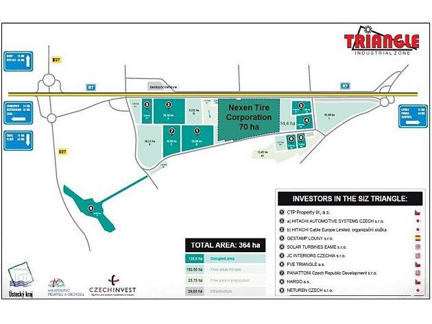 Mapka průmyslové zóny Triangle na Žatecku s vyznačením lokace pro Nexen Tire Corporation