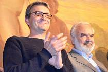 Jan a Zdeněk Svěrákovi při jejich vystoupení v divadle v Žatci v roce 2014.
