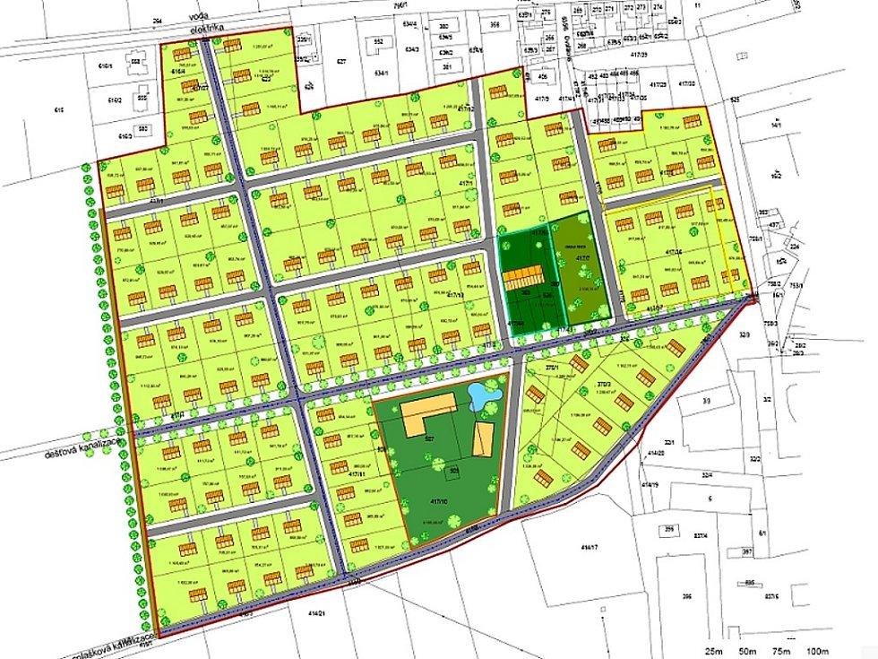 Zastavující studie ukazuje, kde by měly vyrůst rodinné domy, hřiště, komunikace nebo nádrž v nové obytné zóně v Cítolibech.