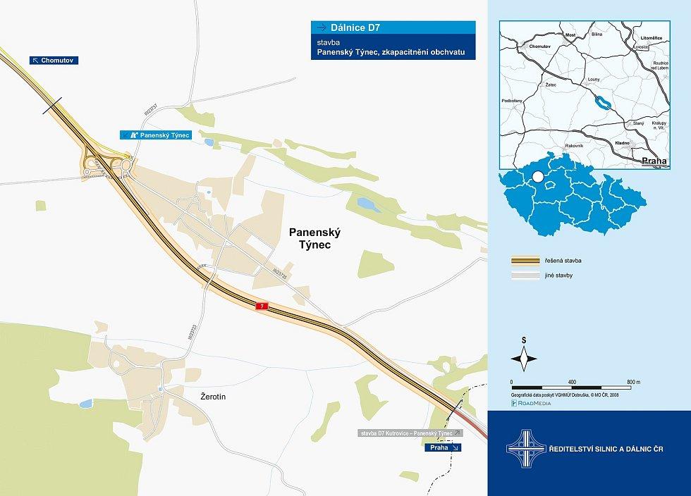 Mapa dálnice D7 u Panenského Týnce.