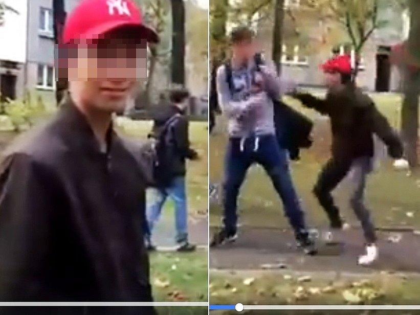 Snímky z videa, které na Facebooku ukazuje brutální napadení chlapců mladým agresorem (v červené čepici) v lounských Holárkových sadech