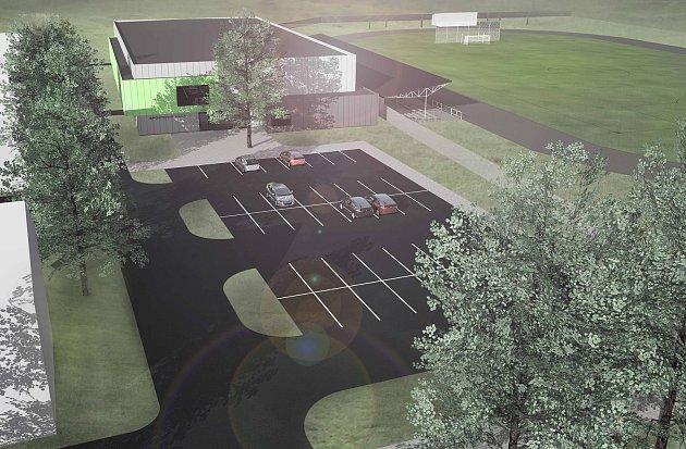Vizualizace nové sportovní haly, která by měla vyrůst vPodbořanech.