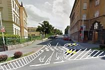 Návrh nového dopravního značení ve Vrchlického ulici na křižovatce s Komenského alej.