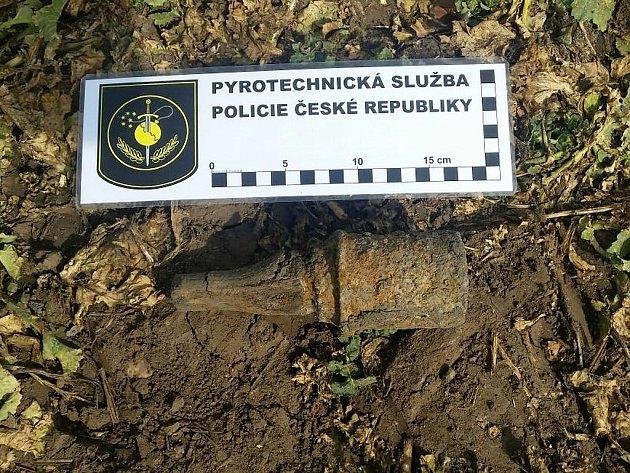 Granát nalezený v Radíčevsi.