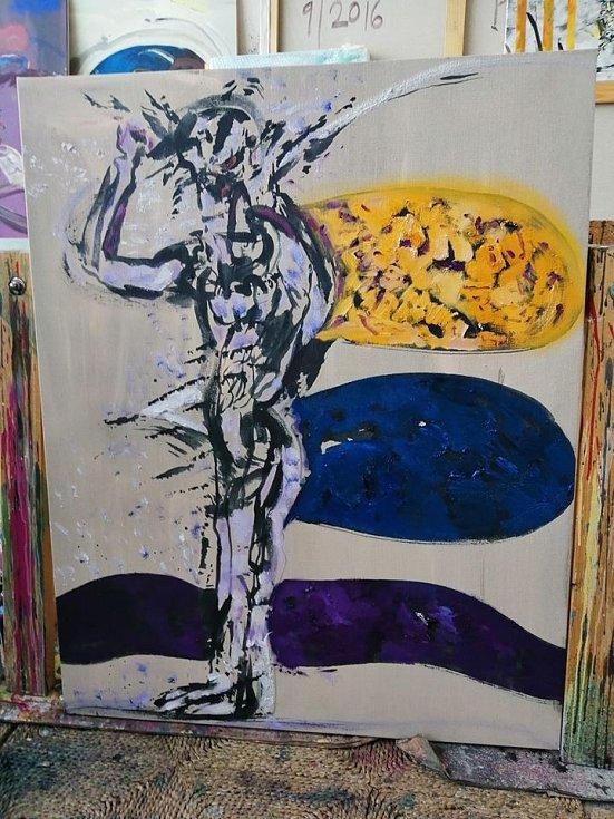 """V Galerii města Loun můžete navštívit výstavu Vladimíra Nováka. Tyto obrazy namaloval v """"karanténě""""."""