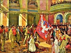 Slavnost odevzdání Mánesova praporu 1. června 1862. Matkou praporu byla Karolína Světlá.