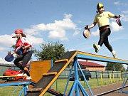 Krajská soutěž v požárním sportu dobrovolných hasičů na podbořanském sportovním stadionu.