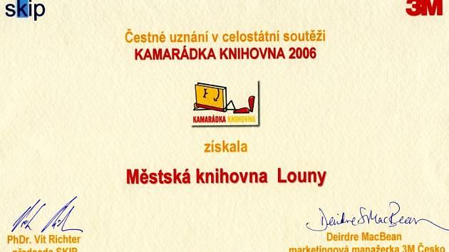 Diplom pro lounskou knihovnu