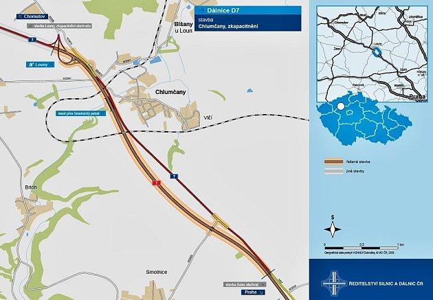 Mapka ukazuje, kudy povede nová dálnice D7 uChlumčan.