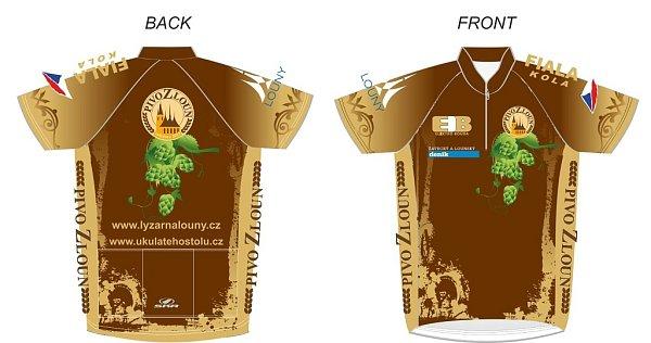 Takto by měl vypadat cyklistický dres vbarvách pivovaru Pivo ZLoun. Pohled zezadu (vlevo) a zepředu