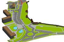 Vizualizace nového řešení prostoru u Žatecké brány v Lounech.