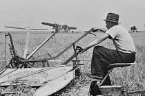 Tentokrát nahlédneme na život v obci Smolnice na Lounsku. Na snímku z padesátých let je Josef Kerner a samovaz.