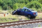 Srážka rychlíku a osobního vozu v Hořeticích