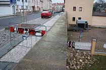 Pod ulicí Na Valích v Lounech se vyvalily hradby. Dosud byla uzavřena jen malá část chodníku přímo nad místem havárie, od středy 9. prosince má být ale v místě i upravena automobilová doprava tak, aby vozy riziková místa nezatěžovaly.