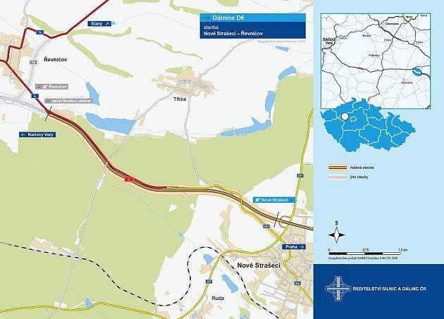 Mapka ukazuje, kudy povede nová dálnice mezi Řevničovem a Novým Strašecím.