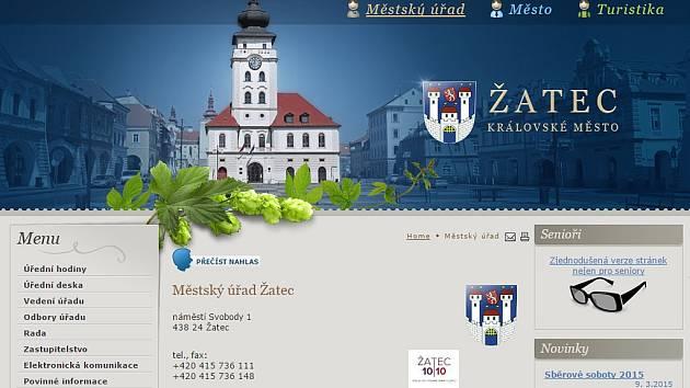 Webové stránky Městského úřadu Žatec