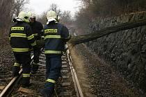 Hasiči odstraňují padlý strom, který zatarasil železniční trať u Trnovan