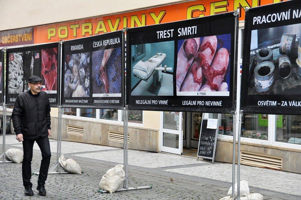 Velmi drastické fotografie ukázala výstava v centru Loun.