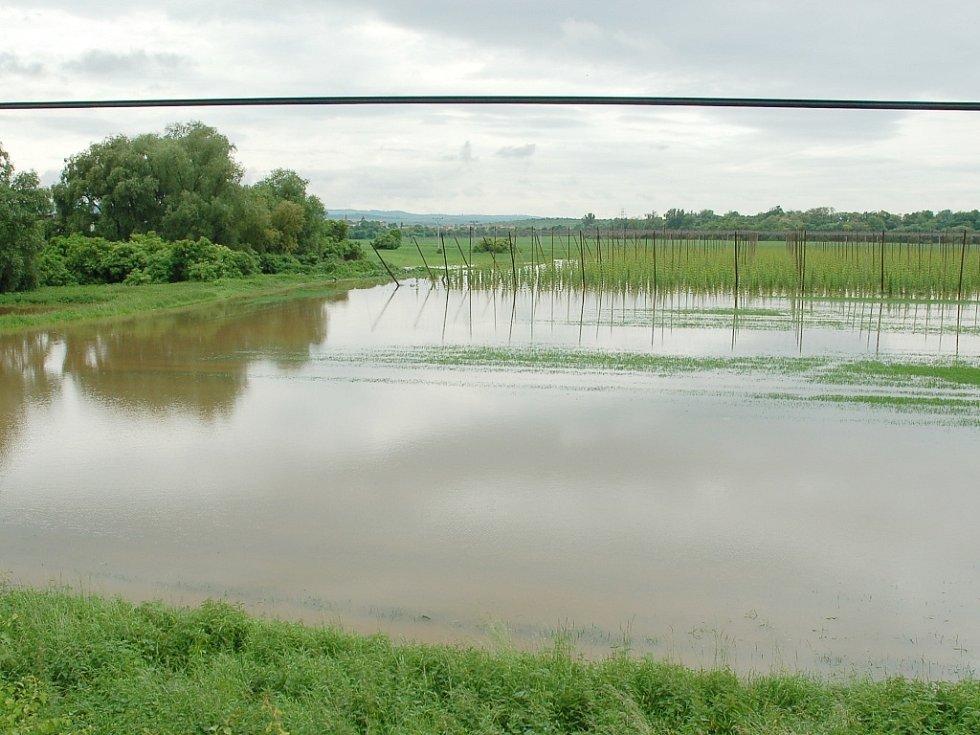 Úterý 4. června 2013. Zaplavené pole u Postoloprt