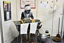 Prací koutek v expozici v žateckém muzeu