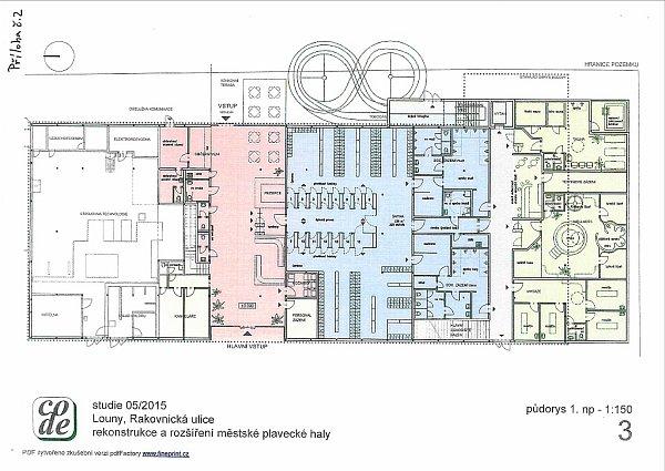 Část studie, představující možnou budoucí podobu lounské plavecké haly