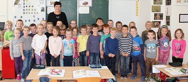 Prvňáci z1.B ze ZŠ J. A. Komenského vLounech