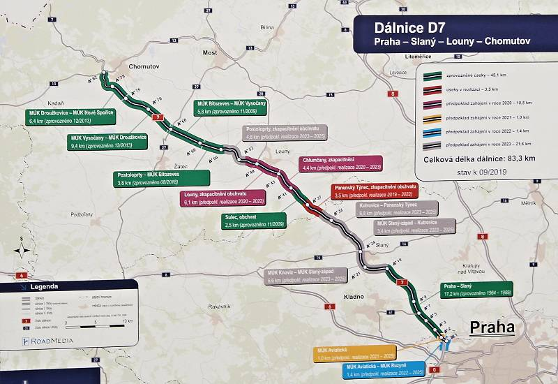 Mapka jednotlivých úseků dálnice D7 z Chomutova do Prahy