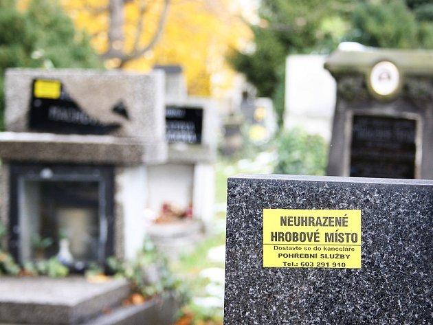 Jasné označení dostala nezaplacená místa od pohřební služby. Tyto jsou na hlavním hřbitově v Lounech