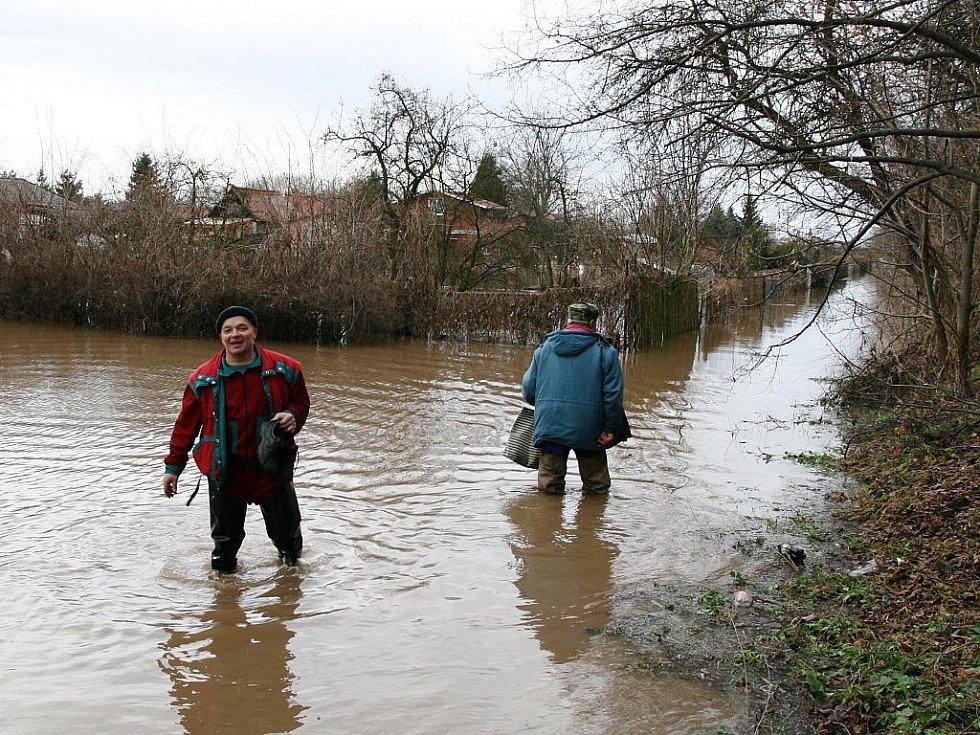 Sobota 15. ledna. Ohře zaplavila zahrádkářskou kolonii Na Losech