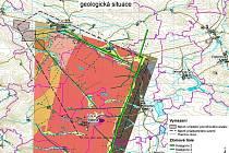 V lokalitě mezi Blatnem, Lubencem a Tisem (modře označené) by rádi geologové prozkoumali území, kde by v budoucnu mohlo být úložiště. Povrchový areál navrhují v blízkosti Lubence.
