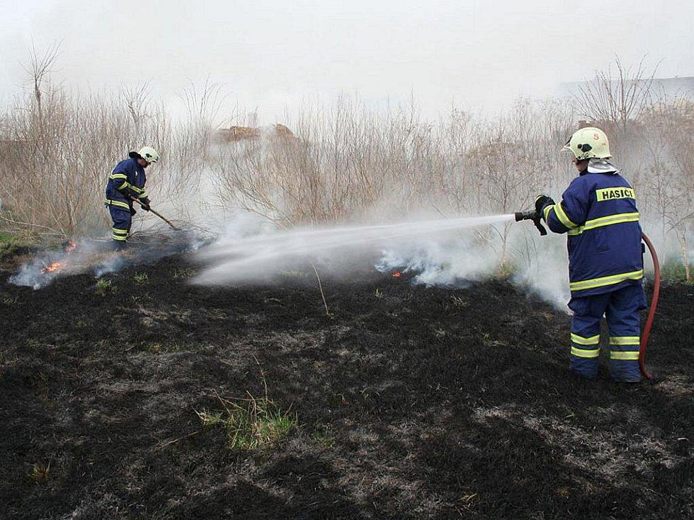 Požár suché trávy u Břvan