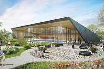 Vizualizace nové plavecké haly, jejíž výstavba bude pokračovat i v roce 2020