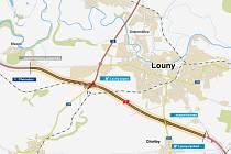 Současný obchvat Loun se přestaví do podoby dálnice.