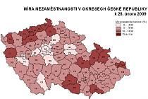 Míra nezaměstnanosti v okresech ČR k poslednímu únoru 2009