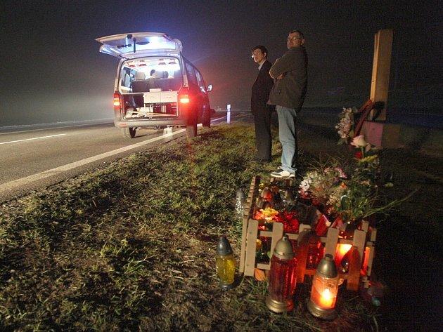 Místo tragické nehody u Panenského Týnce.