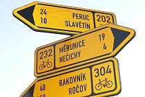 Rozcestník pro cyklisty.