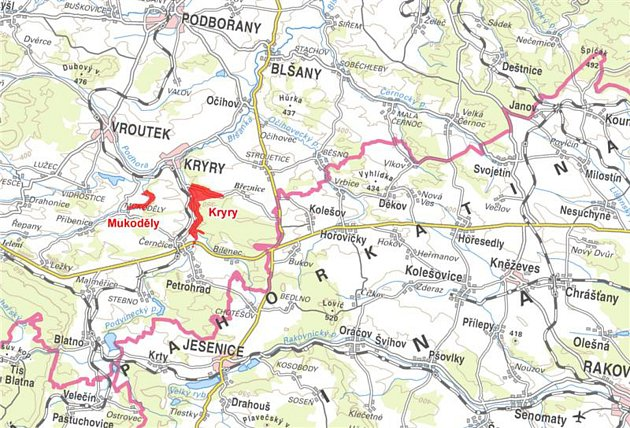 Mapka ukazuje, kde mají vyrůst přehrady Kryry a Mukoděly.