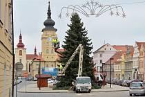 Zdobení vánočního stromu na náměstí Svobody v Žatci
