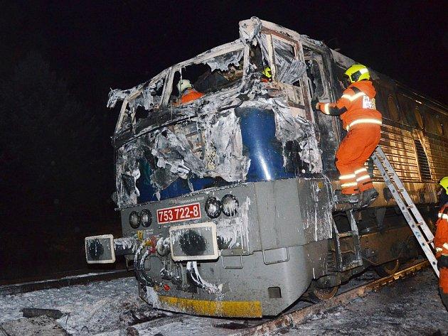 Požár lokomotivy v Petrohradu na Podbořansku