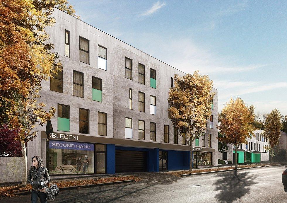 Vizualizace ukazuje, jak by mohly vypadat nové bytové domy v žatecké Husově ulici.