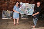 Majitel galerie David Herblich a malířka Doris Windlin