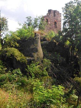 Zřícenina hradu Petršpurk – Petrohrad na kopci nad obcí Petrohrad