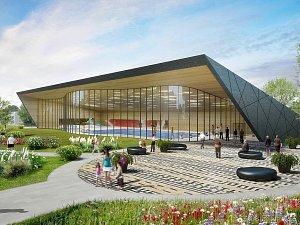 Vizualizace budoucí podoby Městské plavecké haly Louny